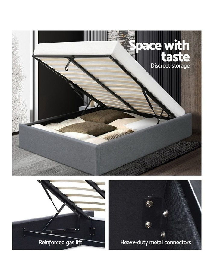 Queen Size Gas Lift Bed Frame Base With Storage Platform Fabric image 4