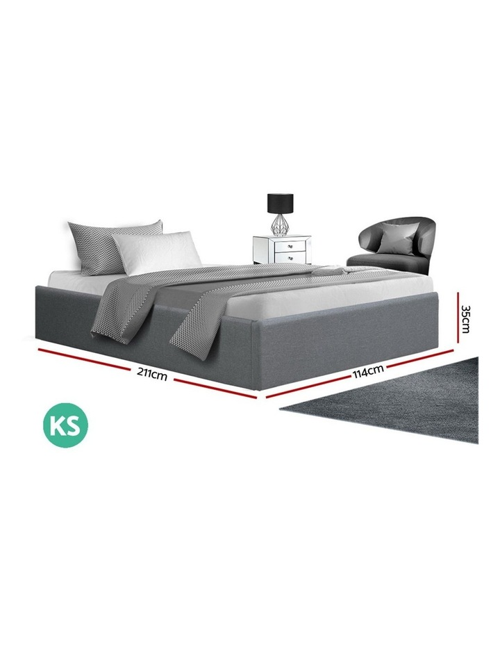 King Single Size Gas Lift Bed Frame Base With Storage Fabric image 2