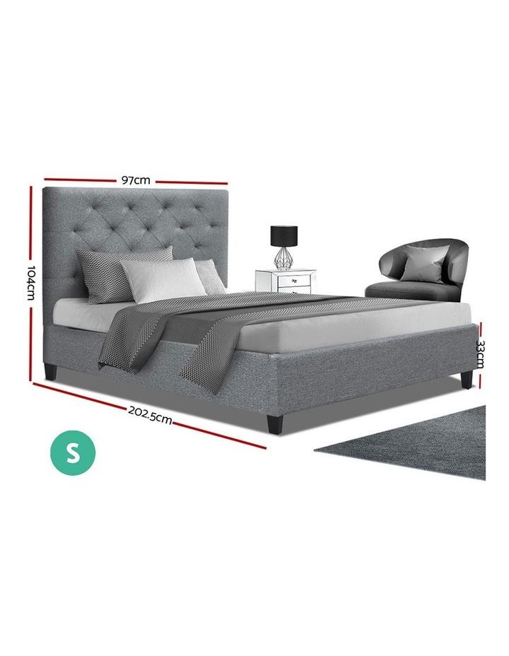 Single Size Bed Frame Base Mattress Platform Fabric Wooden Grey VAN image 2