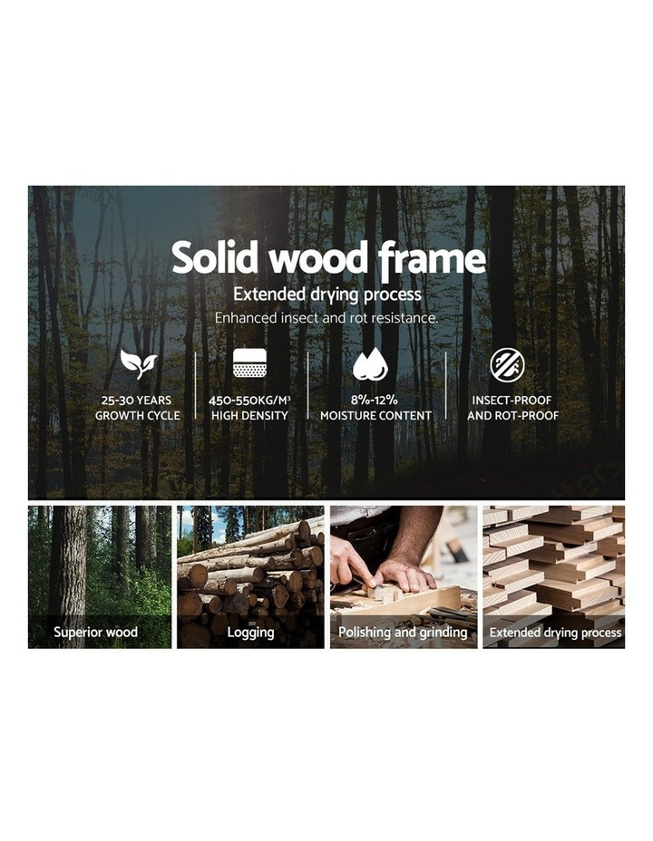 King Size Bed Frame Base Mattress Platform Fabric Wooden Grey VAN image 4