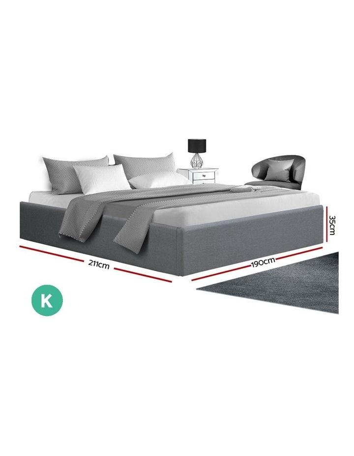 King Size Gas Lift Bed Frame Base With Storage Platform Fabric image 2