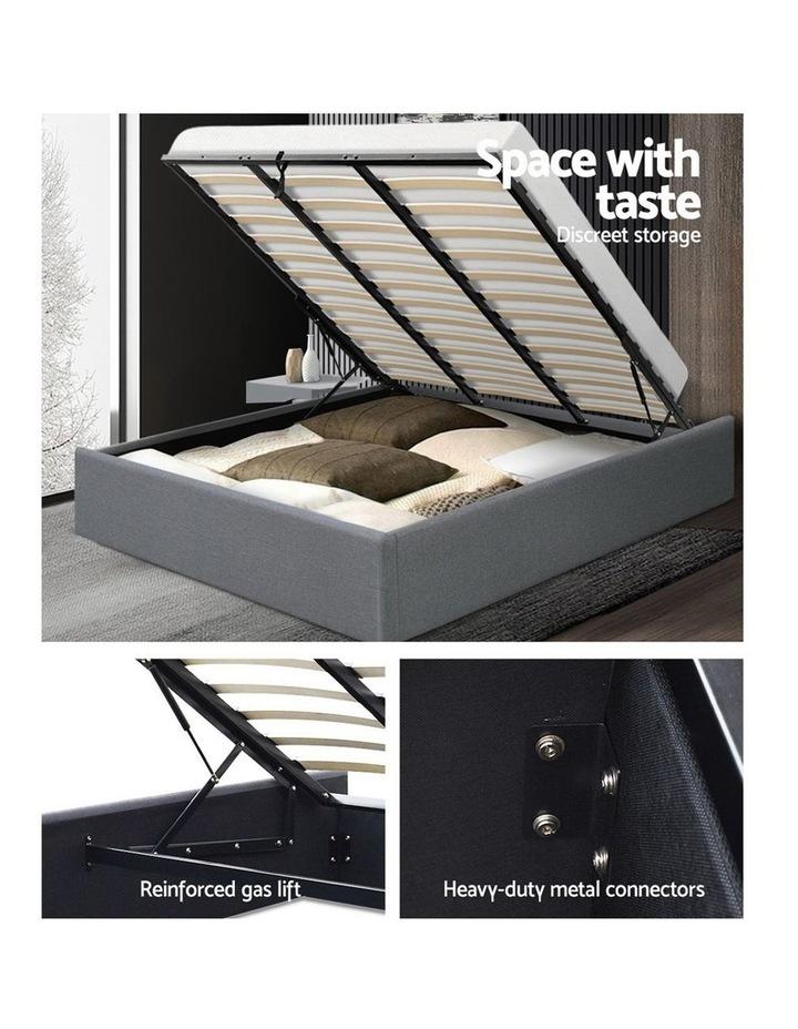 King Size Gas Lift Bed Frame Base With Storage Platform Fabric image 4