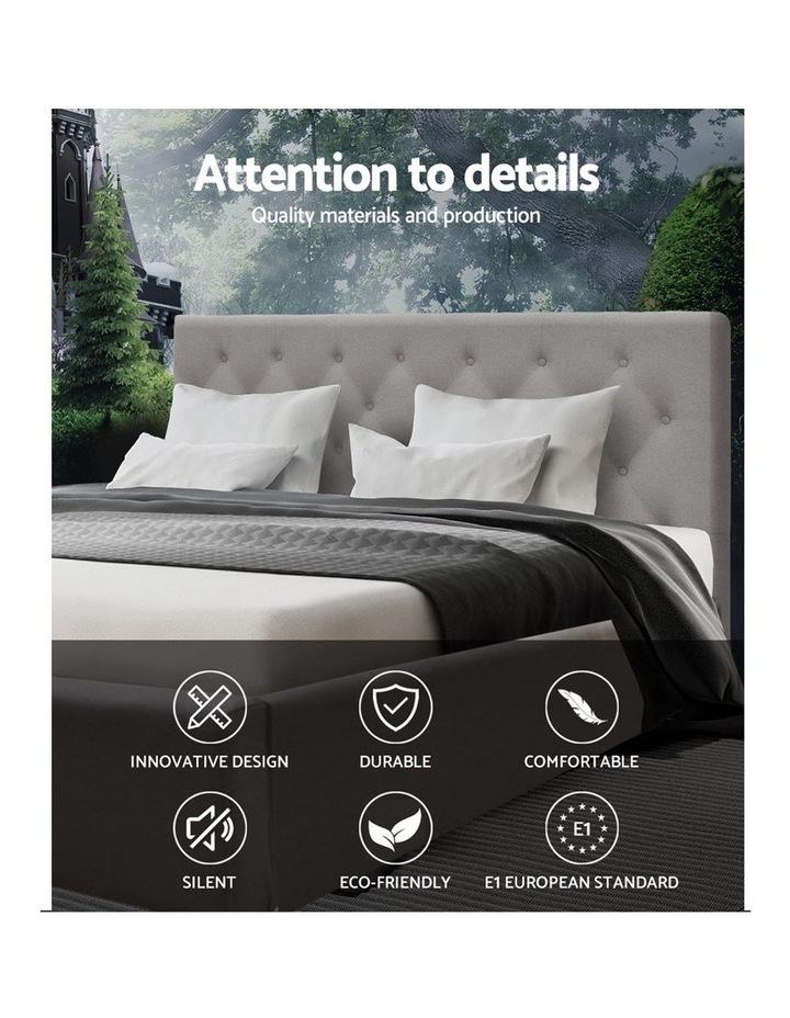 Queen Size Bed Base Frame Mattress Platform Fabric Wooden BeigeTOMI image 3