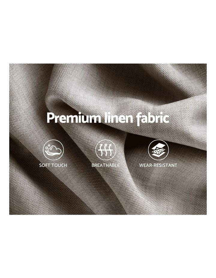 Queen Size Bed Base Frame Mattress Platform Fabric Wooden BeigeTOMI image 6