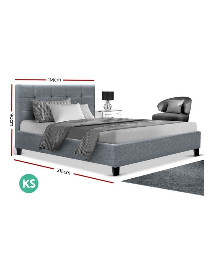 King Single Size Bed Frame Base Mattress Platform Grey Fabric Wooden SOHO image 2