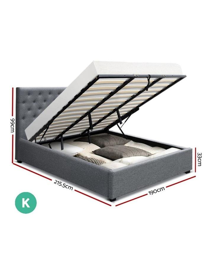 King Size Gas Lift Bed Frame Base With Storage Mattress Grey Fabric VILA image 2