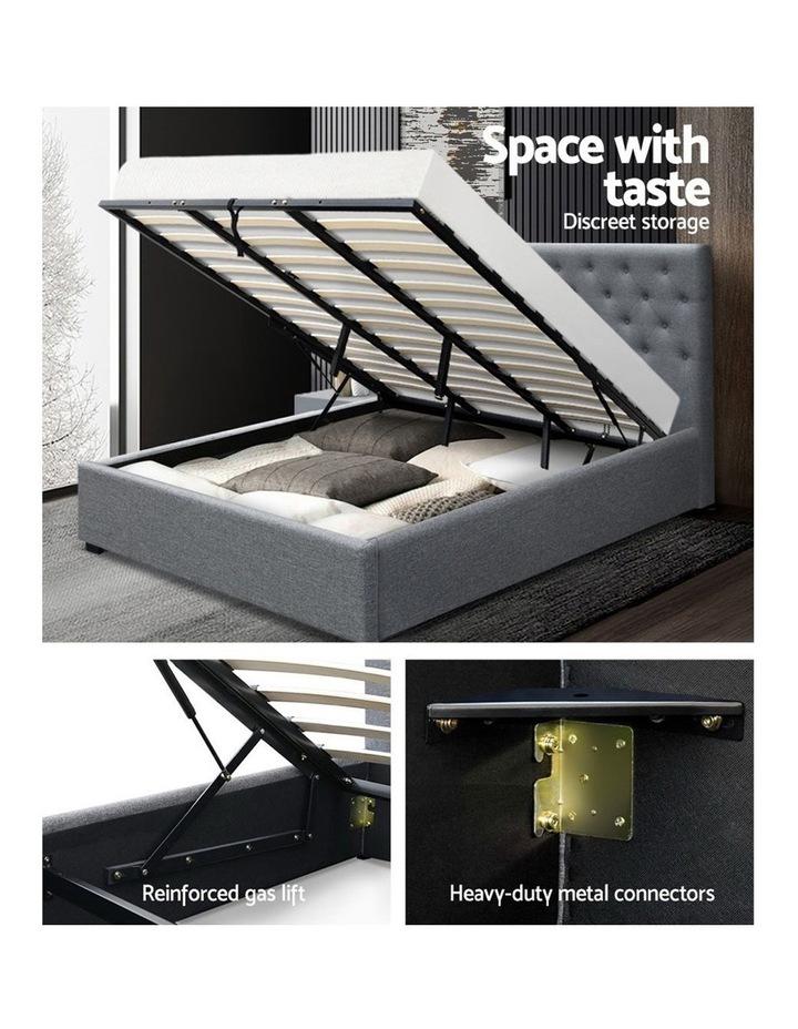 King Size Gas Lift Bed Frame Base With Storage Mattress Grey Fabric VILA image 4