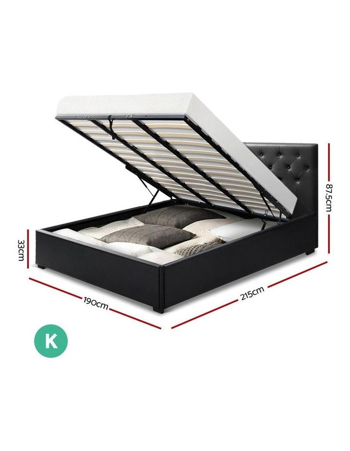 King Size Gas Lift Bed Frame Base Mattress Platform Leather Wooden Black WARE image 2