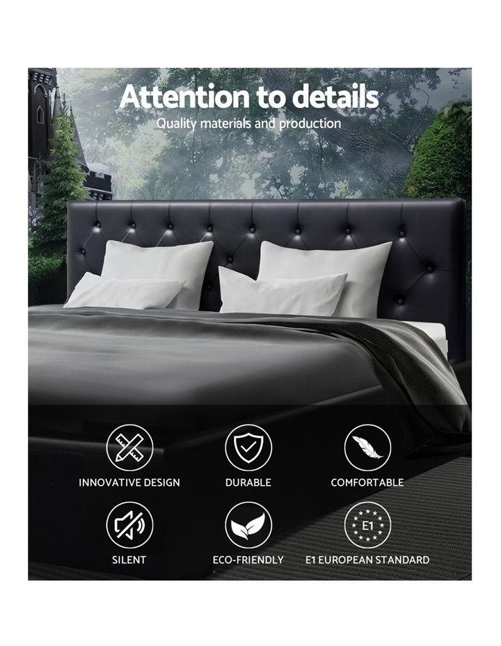 King Size Gas Lift Bed Frame Base Mattress Platform Leather Wooden Black WARE image 3