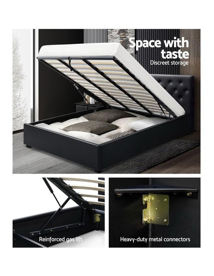 King Size Gas Lift Bed Frame Base Mattress Platform Leather Wooden Black WARE image 4