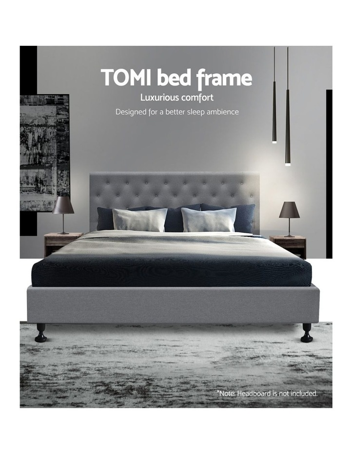Queen Size Fabric and Wood Bed Frame - Grey image 3