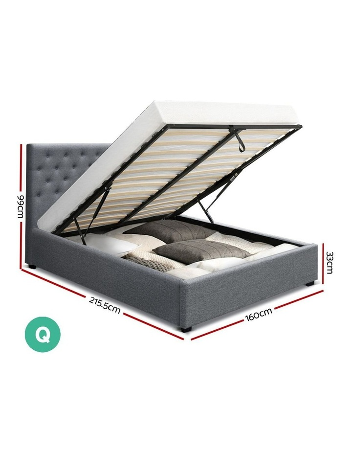 Queen Size Gas Lift Bed Frame Base With Storage Mattress Grey Fabric VILA image 2