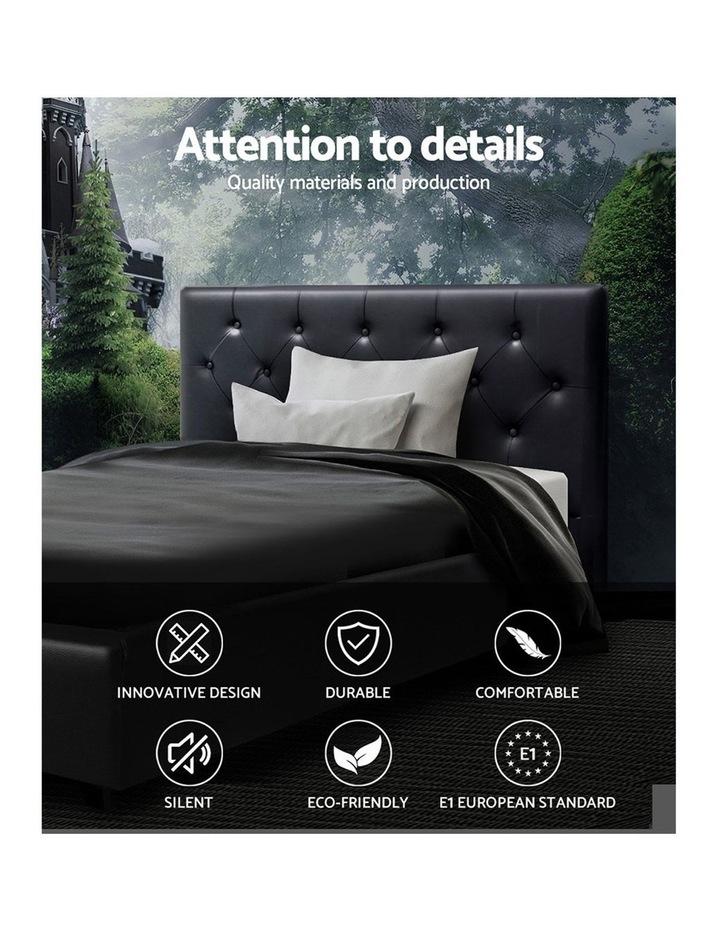 King Single Size Gas Lift Bed Frame Base Mattress Platform Leather Wooden Black WARE image 3