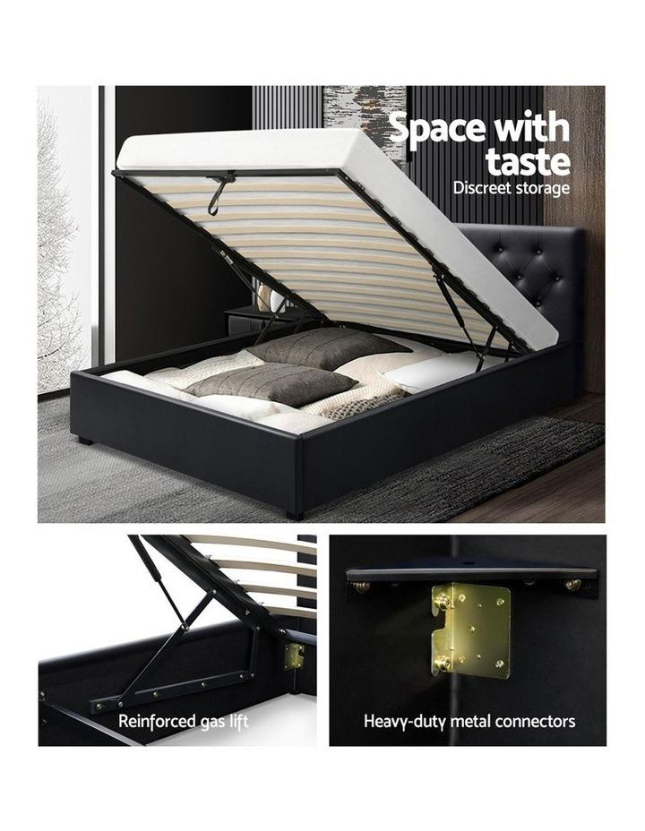 King Single Size Gas Lift Bed Frame Base Mattress Platform Leather Wooden Black WARE image 4