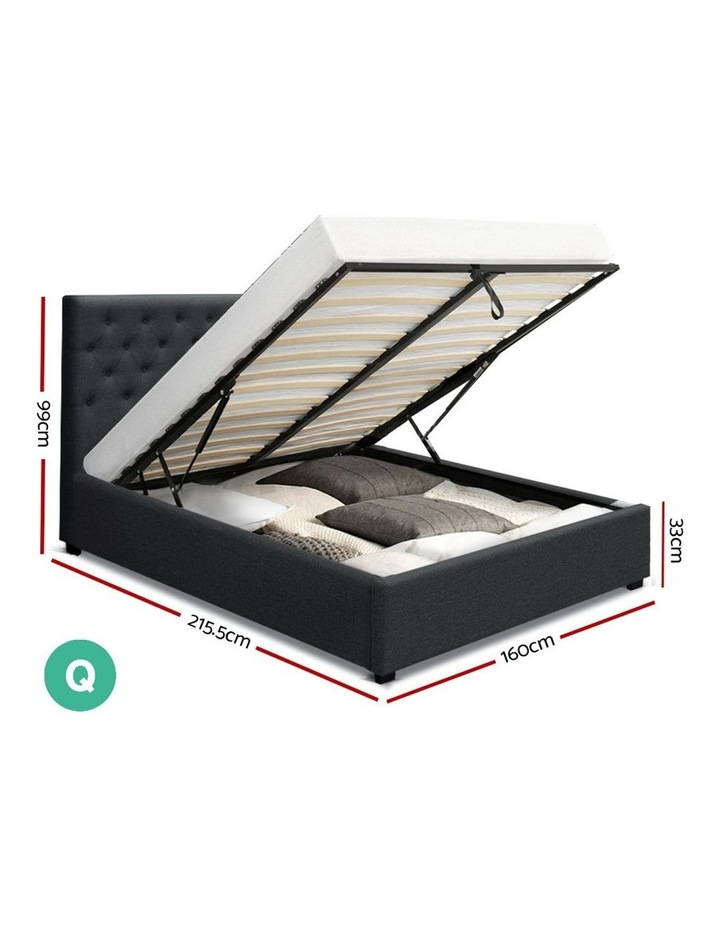 Queen Size Gas Lift Bed Frame Base With Storage Mattress Charcoal Fabric VILA image 2