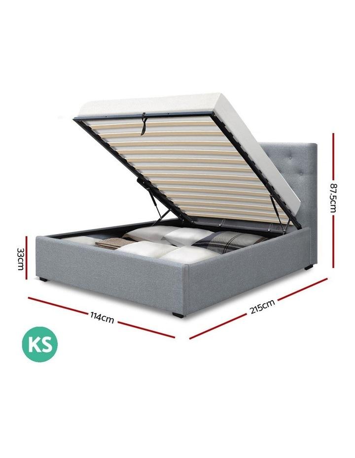 King Single Size Gas Lift Bed Frame Base Mattress Platform Fabric Wooden Grey WARE image 2