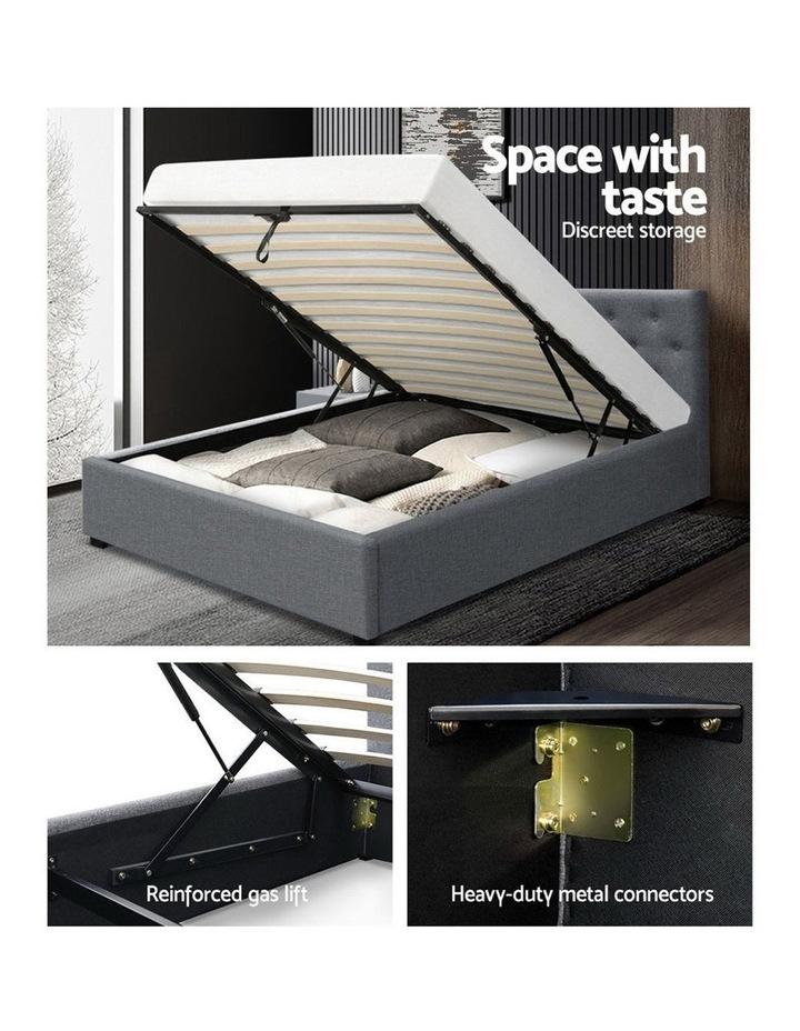 King Single Size Gas Lift Bed Frame Base Mattress Platform Fabric Wooden Grey WARE image 4