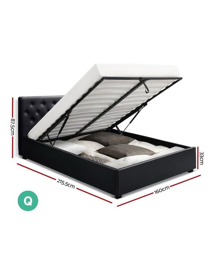 Queen Size Gas Lift Bed Frame Base Mattress Platform Leather Wooden Black WARE image 2