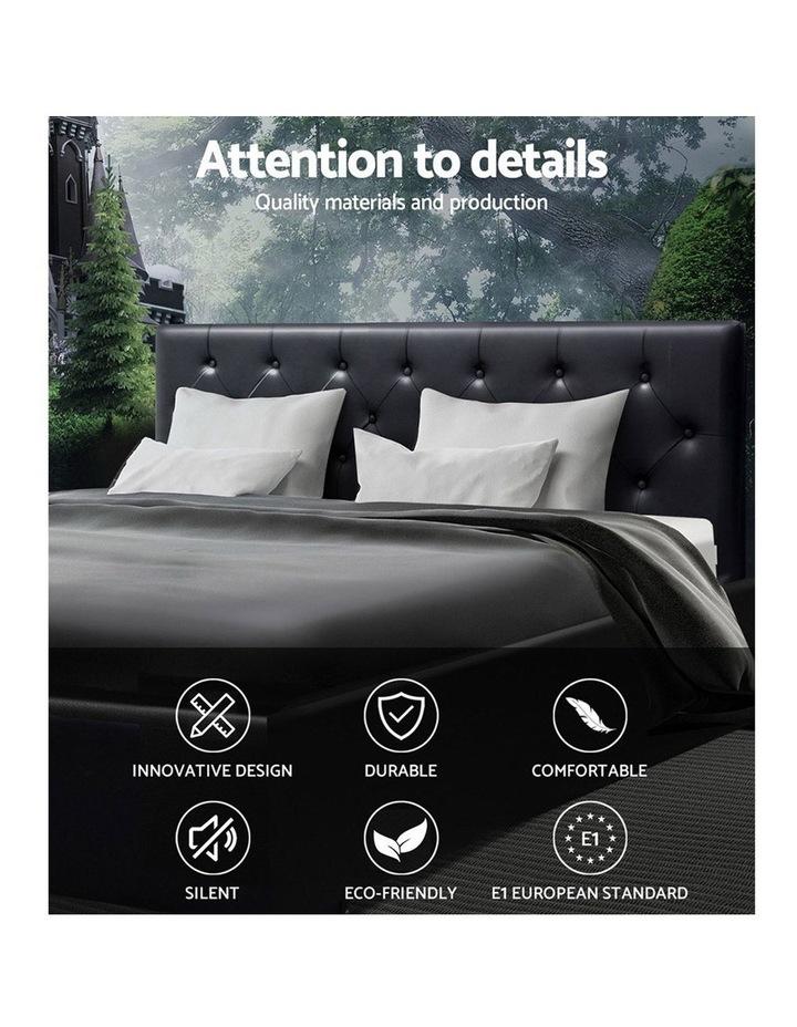 Queen Size Gas Lift Bed Frame Base Mattress Platform Leather Wooden Black WARE image 3
