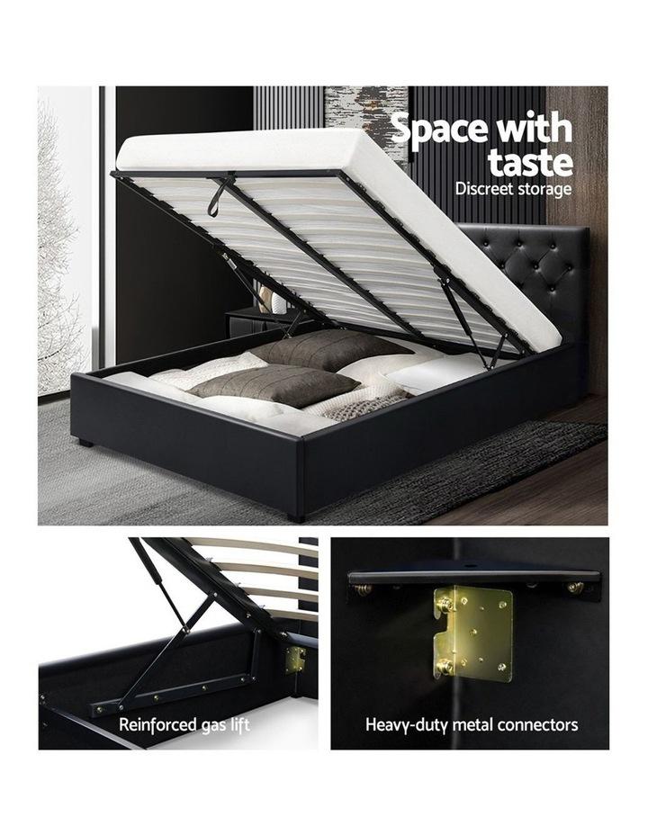 Queen Size Gas Lift Bed Frame Base Mattress Platform Leather Wooden Black WARE image 4