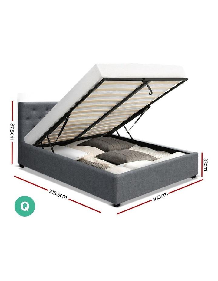 Queen Size Gas Lift Bed Frame Base Mattress Platform Fabric Wooden Grey WARE image 2