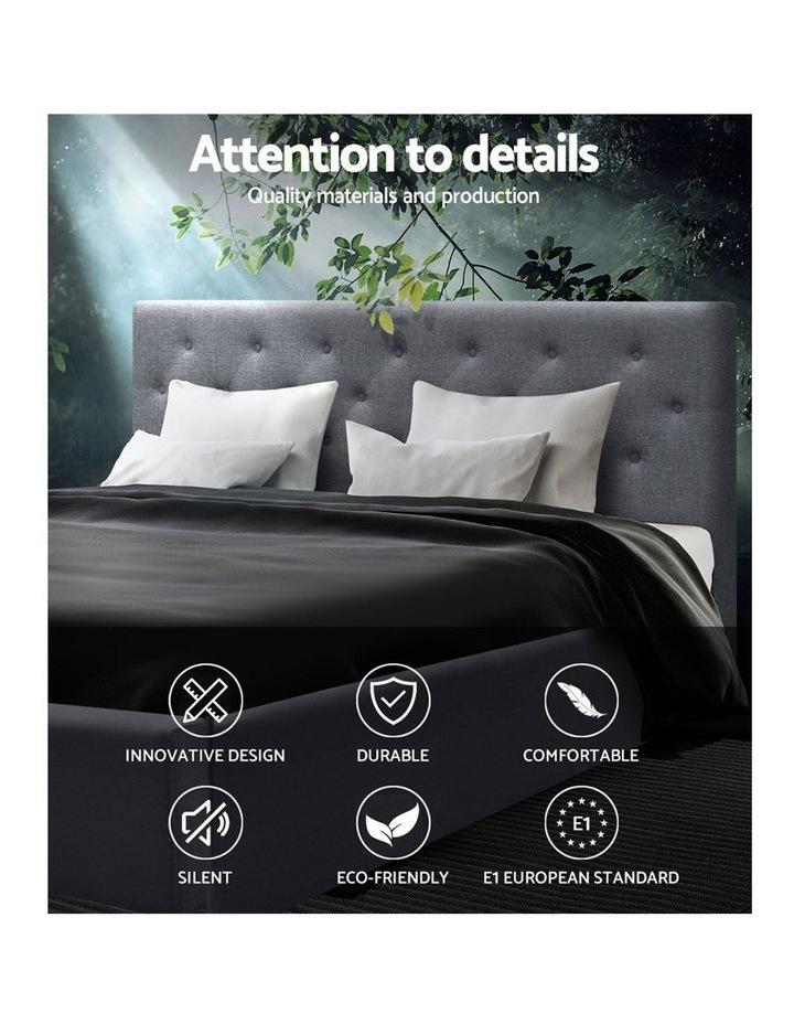 Queen Size Gas Lift Bed Frame Base Mattress Platform Fabric Wooden Grey WARE image 3