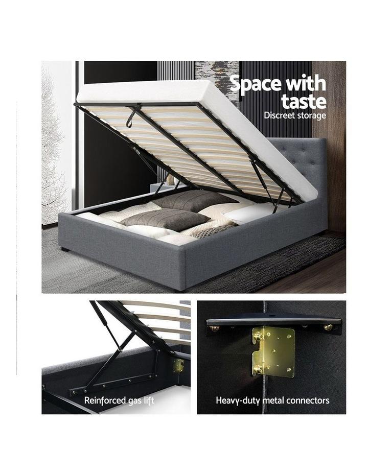 Queen Size Gas Lift Bed Frame Base Mattress Platform Fabric Wooden Grey WARE image 4