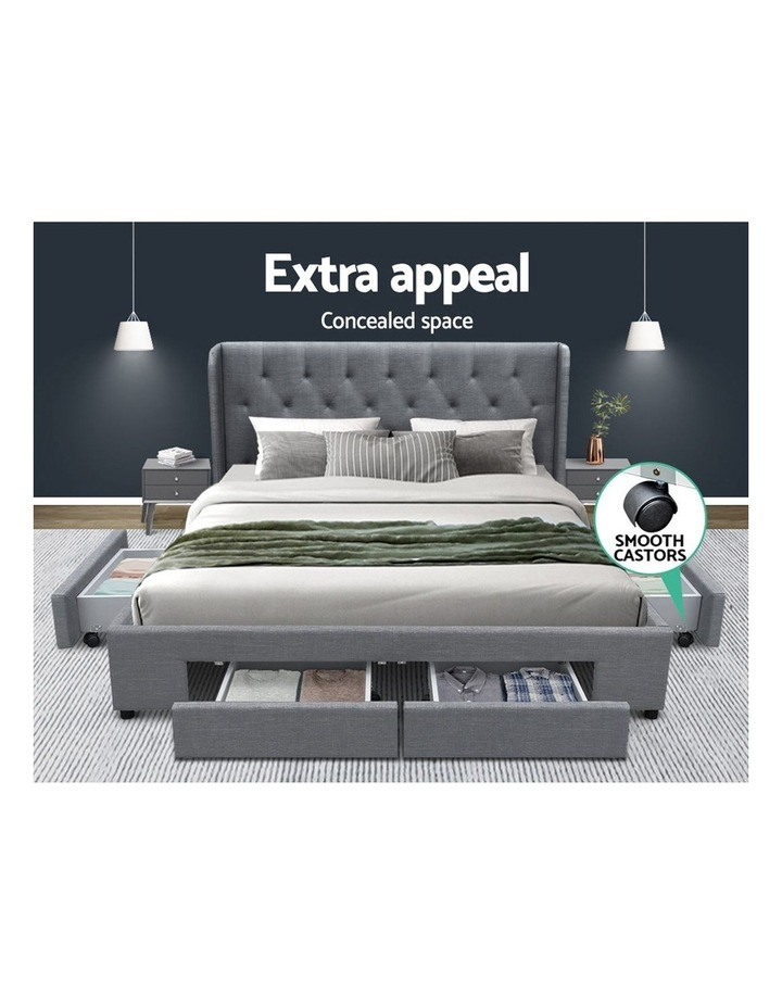 Queen Size Bed Frame Base Mattress With Storage Drawer Grey Fabric MILA image 3