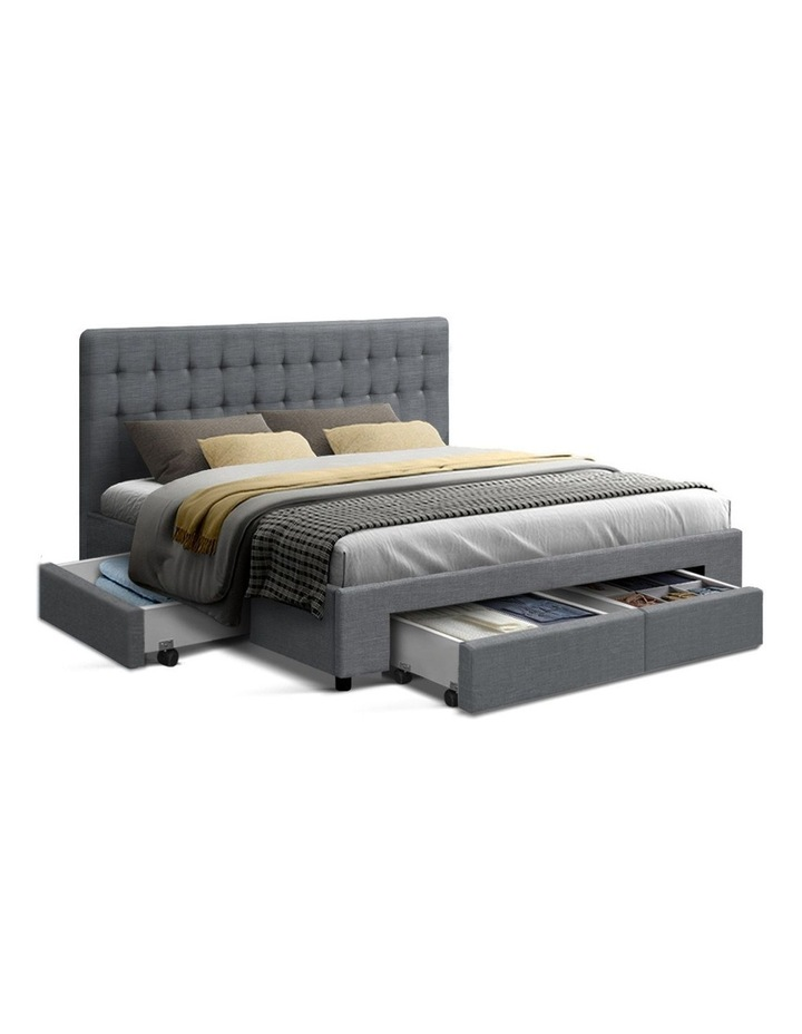 King Bed Frame with 4 Storage Drawers AVIO Fabric Headboard Wooden image 1