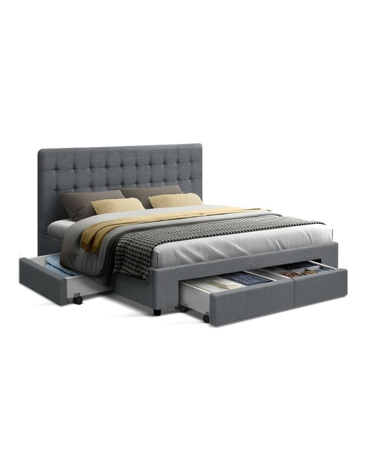 Queen Size Bed Frame Base Mattress With Storage Drawer Fabric image 1