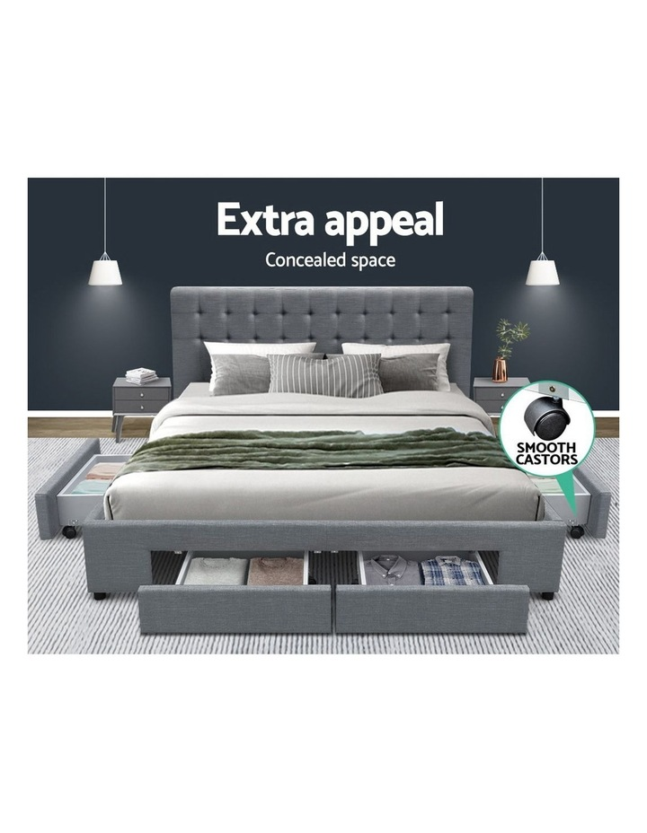 Queen Size Bed Frame Base Mattress With Storage Drawer Fabric image 3