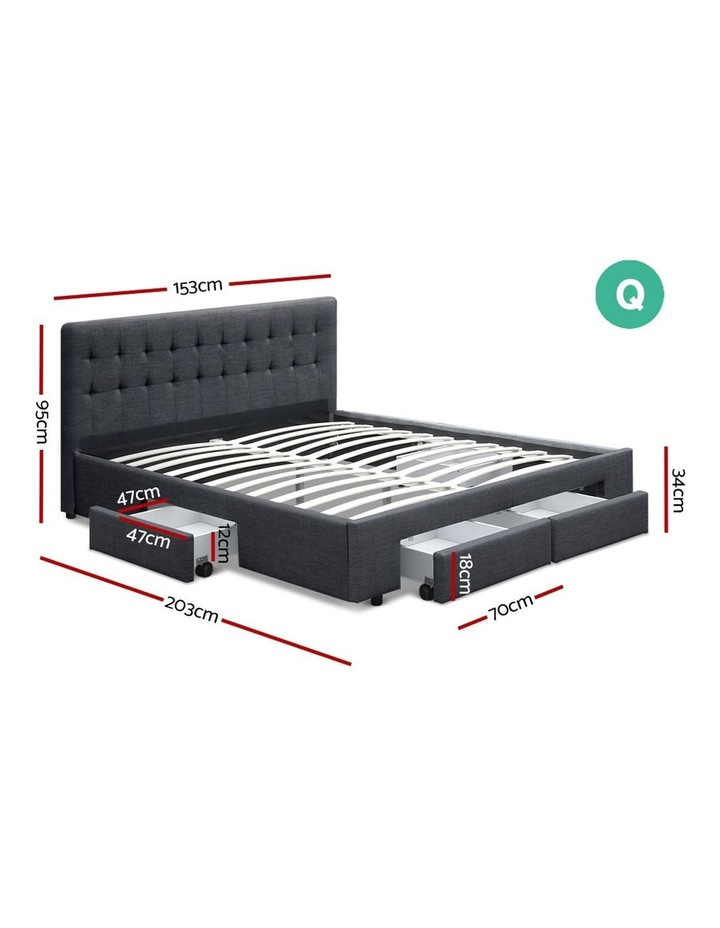 Queen Size Fabric Bed Frame Headboard with Drawers  - Charcoal image 2