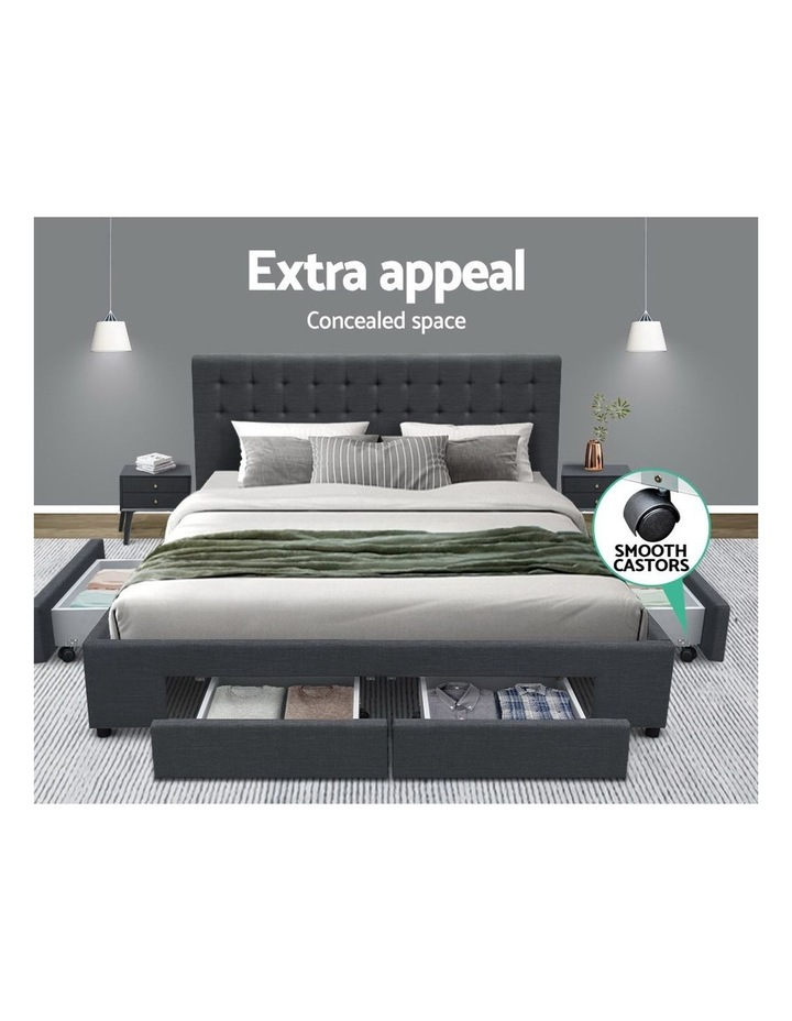 Queen Size Fabric Bed Frame Headboard with Drawers  - Charcoal image 4