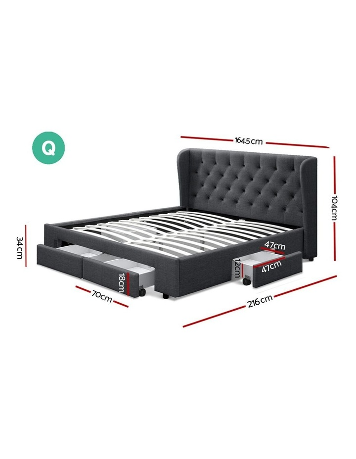 Queen Size Bed Frame Base Mattress With Storage Drawer Charcoal Fabric MILA image 2