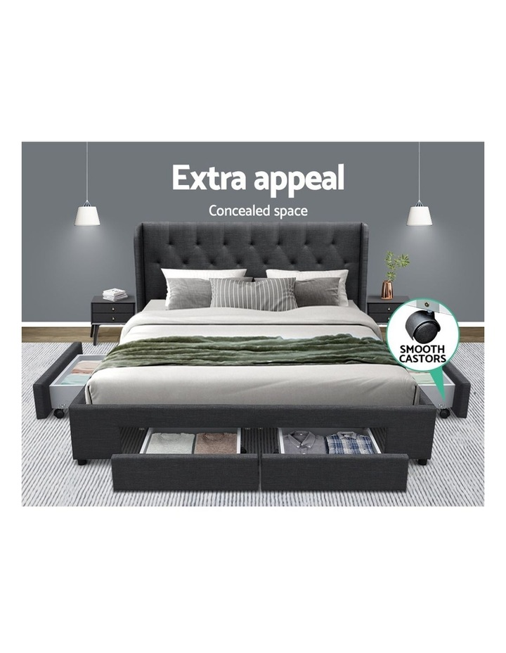 Queen Size Bed Frame Base Mattress With Storage Drawer Charcoal Fabric MILA image 3