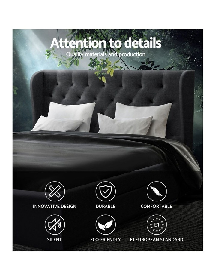 Queen Size Bed Frame Base Mattress With Storage Drawer Charcoal Fabric MILA image 4