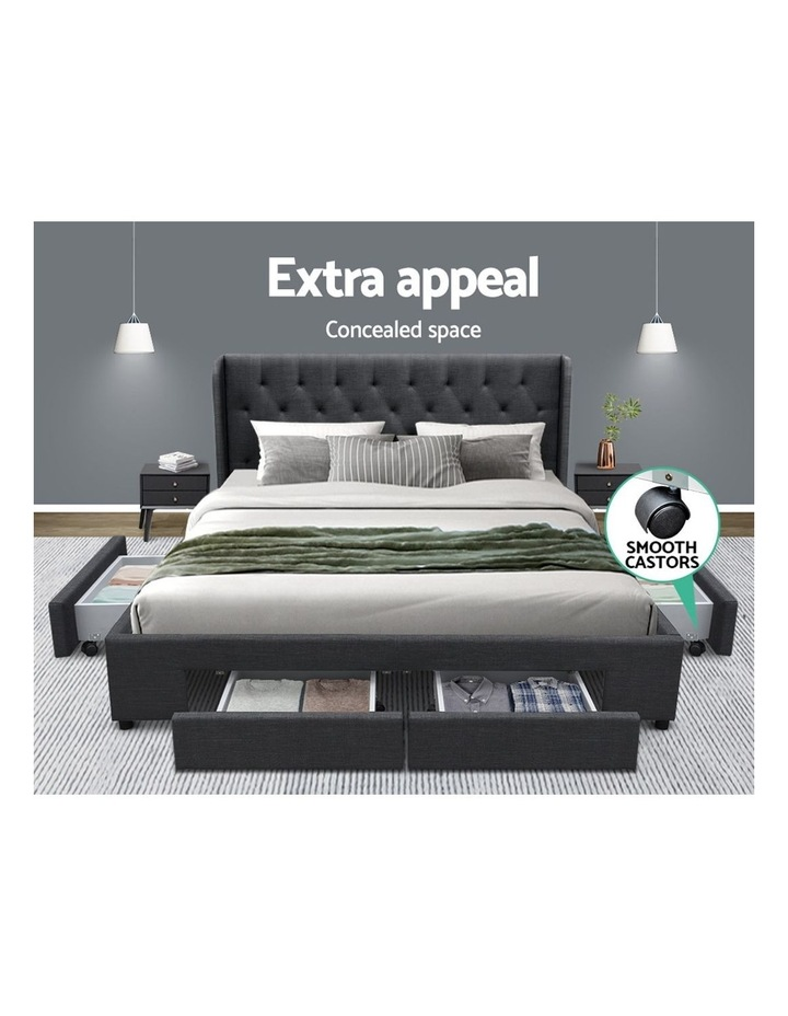 King Size Bed Frame Base With Storage Drawer Charcoal Fabric MILA image 3