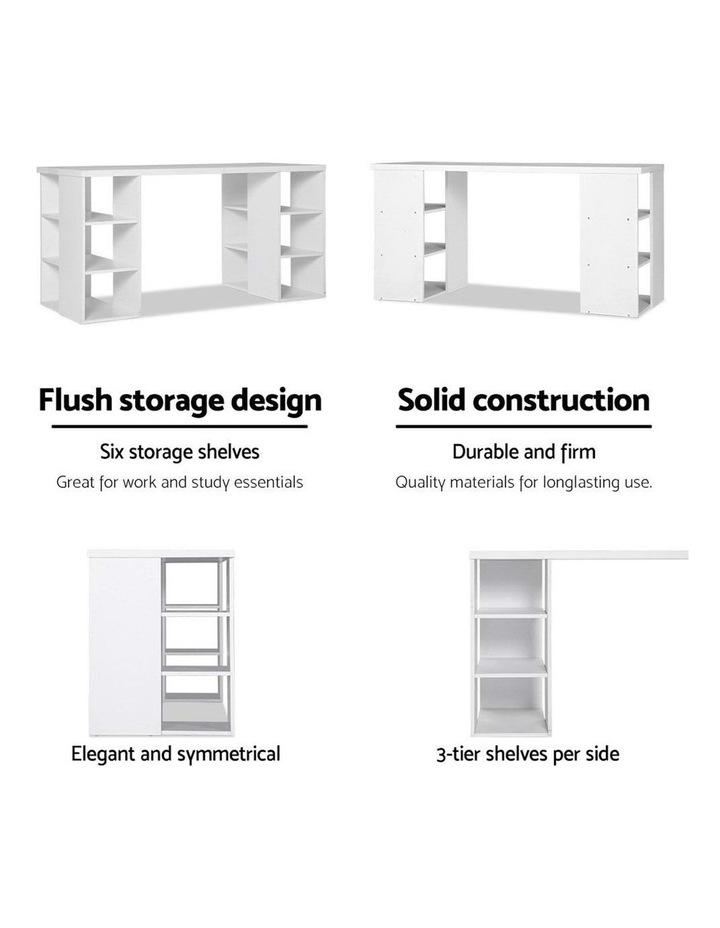 3 Level Desk with Storage and Bookshelf - White image 6