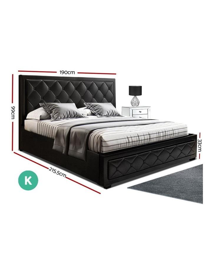 TIYO King Size Gas Lift Bed Frame Base With Storage Mattress Black Leather image 2