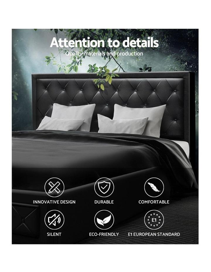 TIYO King Size Gas Lift Bed Frame Base With Storage Mattress Black Leather image 3