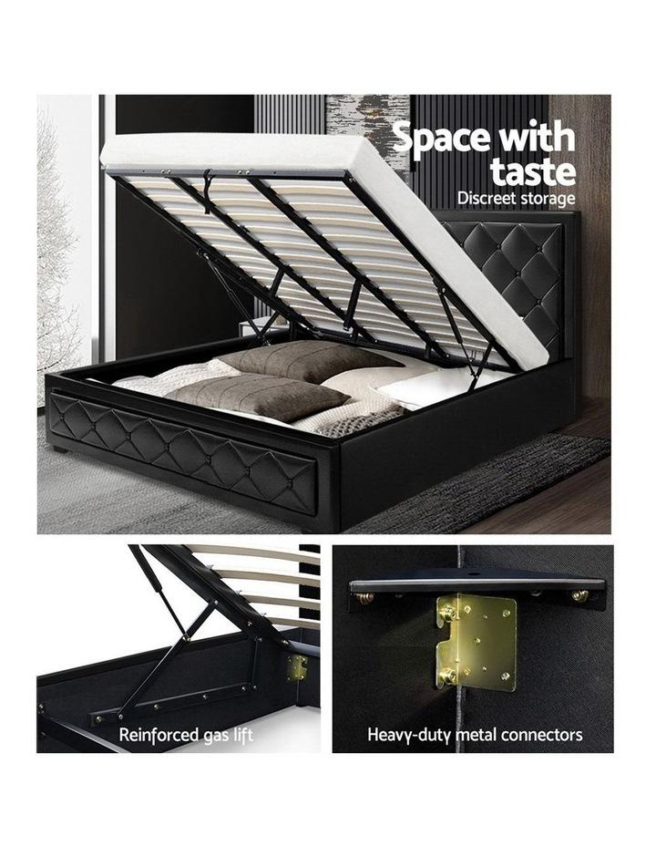 TIYO King Size Gas Lift Bed Frame Base With Storage Mattress Black Leather image 4