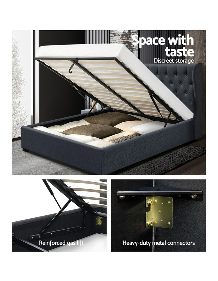 Double Full Size Gas Lift Bed Frame Base With Storage Mattress Charcoal Fabric Wooden image 4