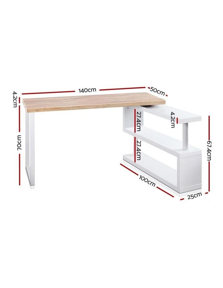 Rotary Corner Desk with Bookshelf - Brown and White image 2