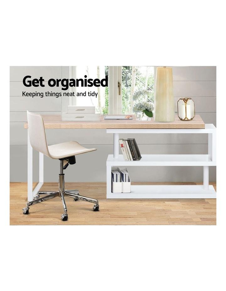 Rotary Corner Desk with Bookshelf - Brown and White image 3
