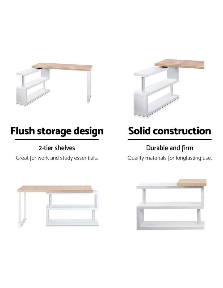 Rotary Corner Desk with Bookshelf - Brown and White image 4