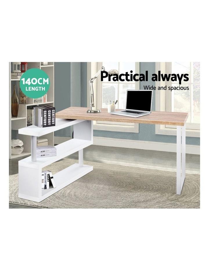 Rotary Corner Desk with Bookshelf - Brown and White image 5