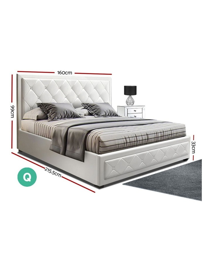 TIYO Queen Size Gas Lift Bed Frame Base With Storage Mattress White Leather image 2