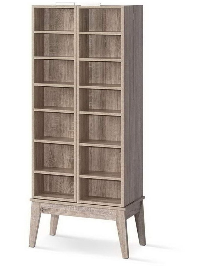 CD/DVD Media Storage Display Shelf Folding Cabinet Bookshelf Bluray Rack Oak image 1