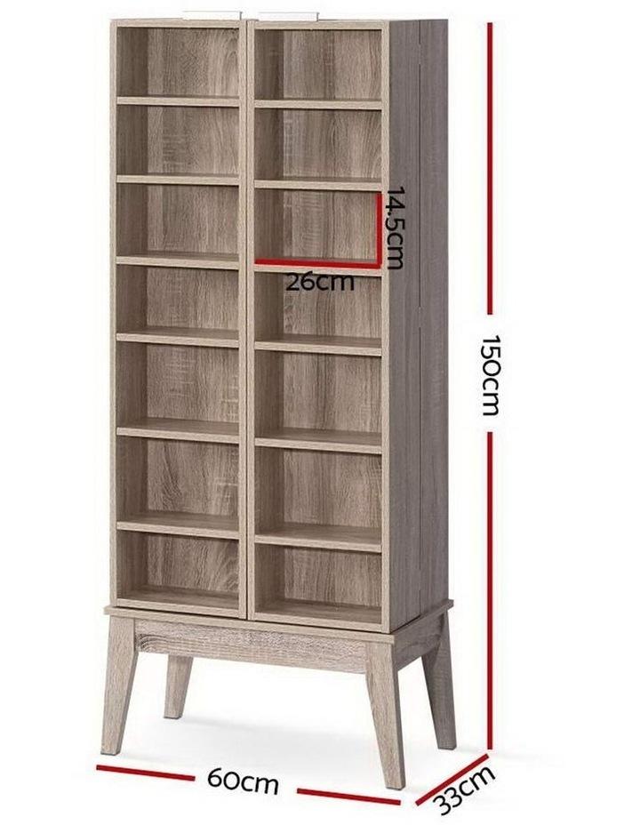 CD/DVD Media Storage Display Shelf Folding Cabinet Bookshelf Bluray Rack Oak image 2