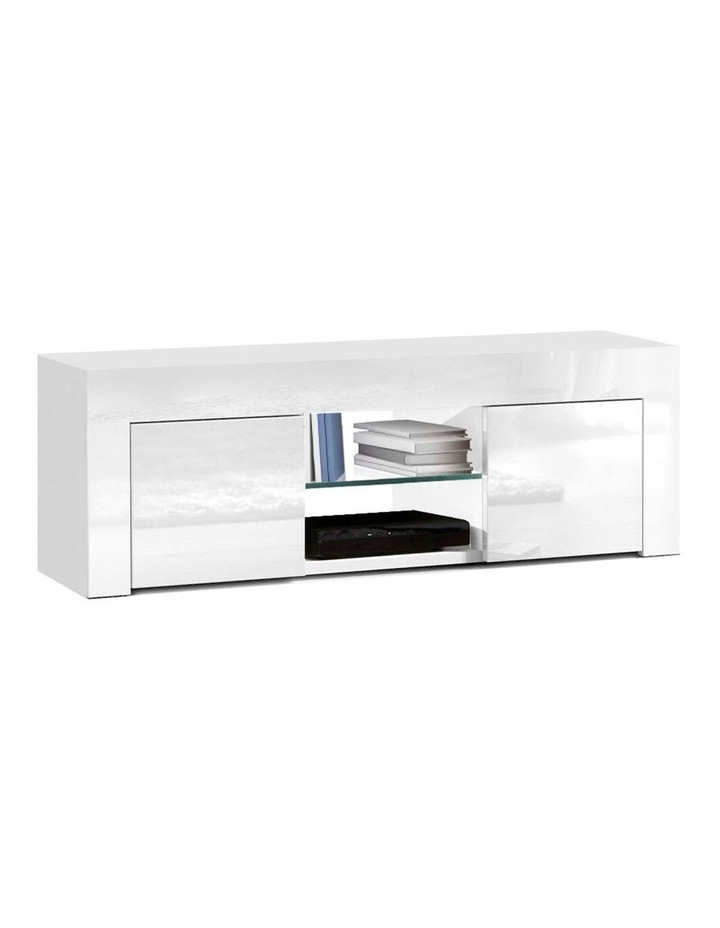 130cm High Gloss TV Stand Entertainment Unit Storage Cabinet Tempered Glass Shelf White image 1